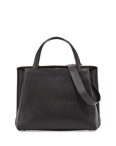 Triennale Large Leather Tote Bag, Black