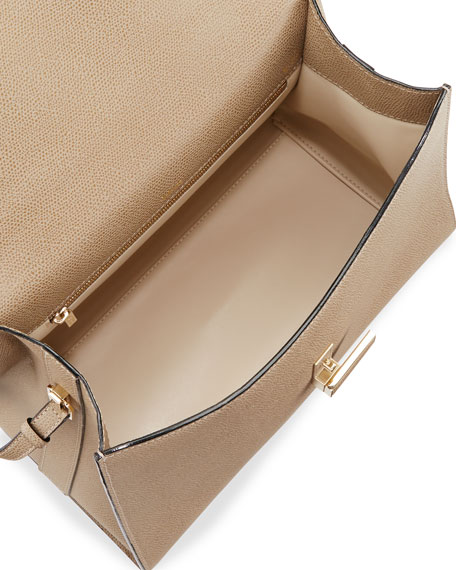 Iside Leather Top-Handle Bag, Taupe