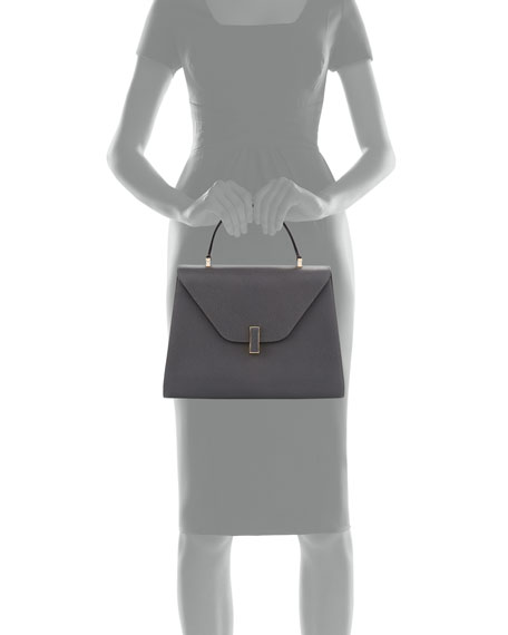 Iside Leather Top-Handle Bag, Gray
