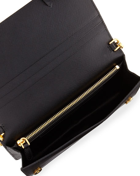 98dfc3fe209c Prada Saffiano Flap Phone Wristlet Wallet w  Crossbody Strap