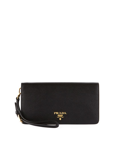 Saffiano Flap Phone Wristlet Wallet w/ Crossbody Strap, Black