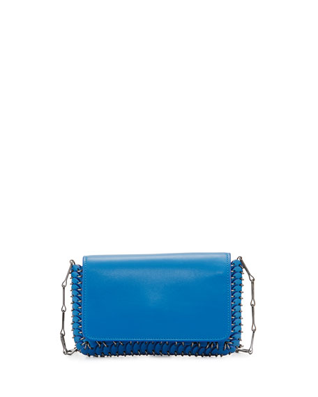 Paco Rabanne Mini Leather Shoulder Bag, Blue