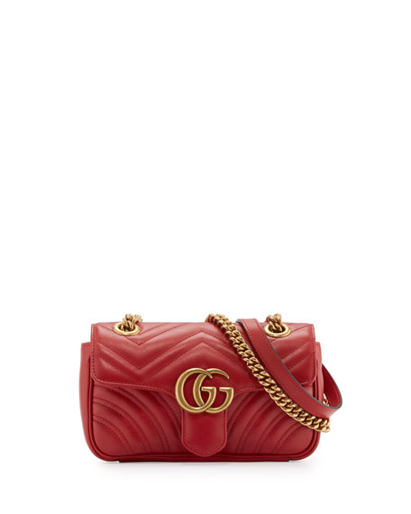 8098484a6dc GG Marmont 2.0 Mini Quilted Leather Crossbody Bag Red