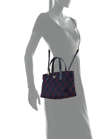 Quilted Tessuto Tote Bag, Blue