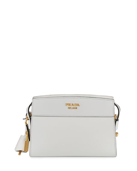 Saffiano City Shoulder Bag, White