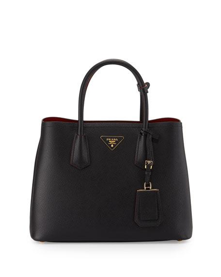 267eaecdaa7f Prada Saffiano Cuir Double Small Tote Bag