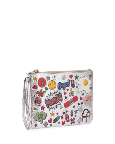 ANYA HINDMARCH Sticker-Print Metallic Leather Pouch, Silver