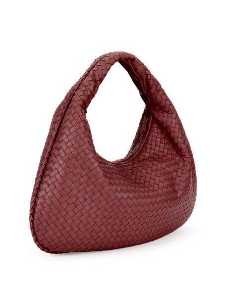 Veneta Intrecciato Large Hobo Bag, Wine