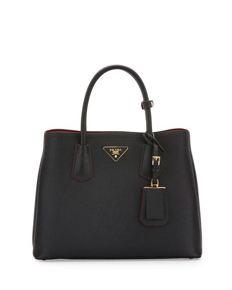 02b44cdbe2 Prada Saffiano Cuir Double Medium Tote Bag