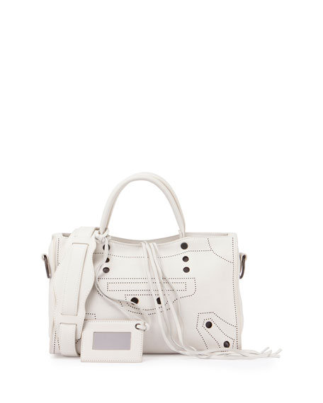 Balenciaga Blackout City Small Tote Bag, White