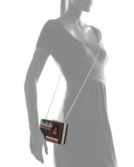 Ricamo Beaded Leather Clutch Bag, Black