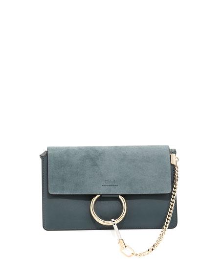 Faye Small Suede & Leather Shoulder Bag, Light Blue