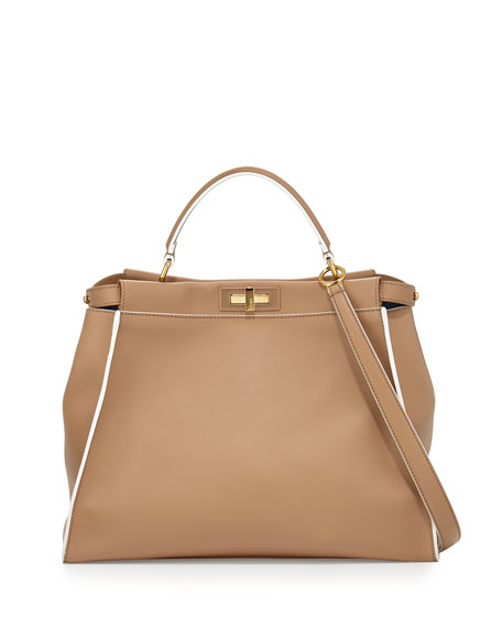 Peekaboo Large Satchel Bag, Beige Multi