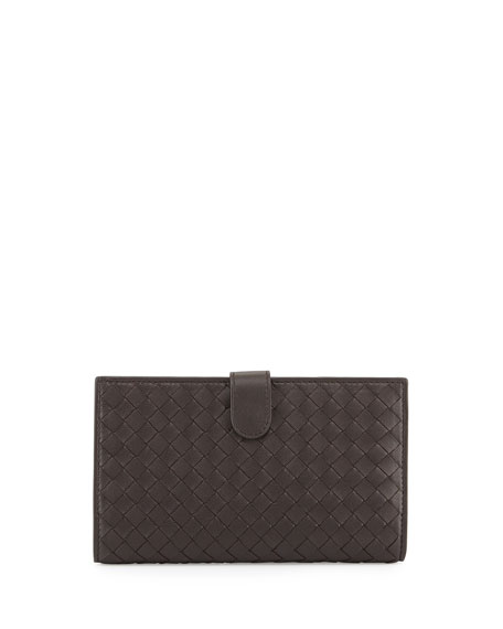 Intrecciato Lambskin Continental Wallet, Dark Brown