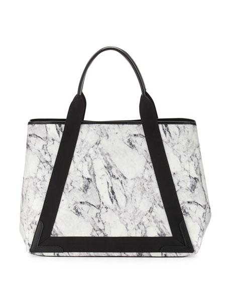 Navy Cabas Medium Marble-Print Tote Bag