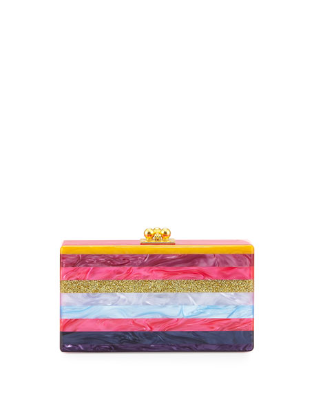 Edie Parker Jean Striped Acrylic Box Clutch Bag