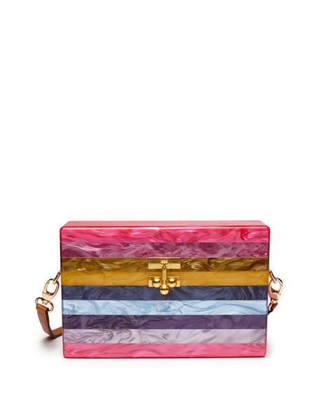 Edie Parker Small Striped Trunk Bag