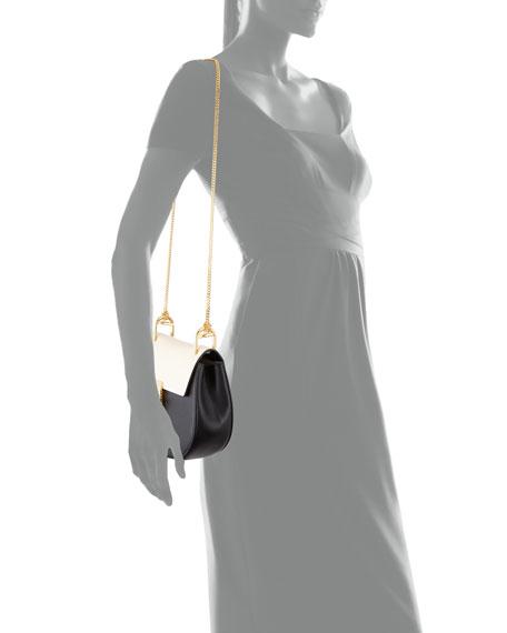 Drew Small Chain Shoulder Bag, Black/White