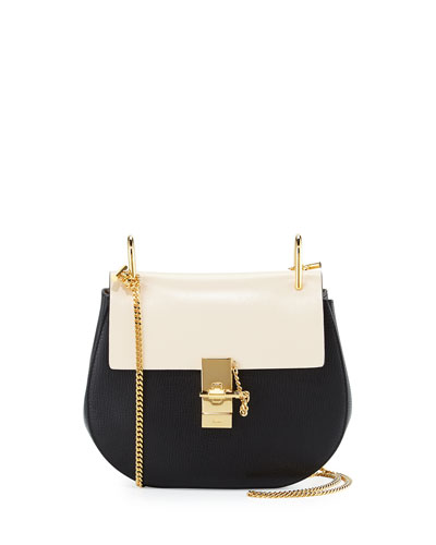 Drew Small Chain Shoulder Bag, Black/White