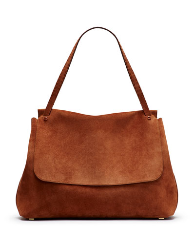 Suede Top-Handle Medium Satchel Bag, Brown