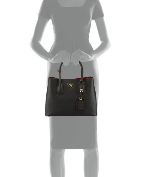Saffiano Cuir Double Mini Tote Bag, Yellow (Sole)