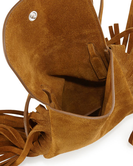 b346e7c8bbd7 Saint Laurent Anita Mini Flat Suede Shoulder Bag with Fringe