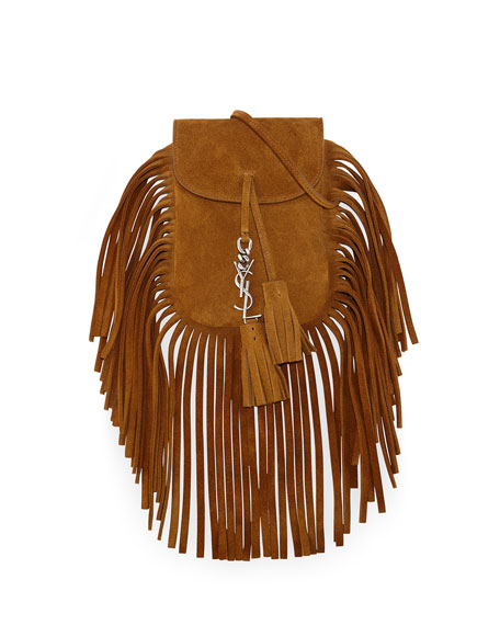 Image 1 of 1: Anita Mini Flat Suede Shoulder Bag with Fringe
