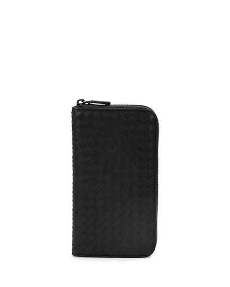 Woven Leather Travel Wallet, Black