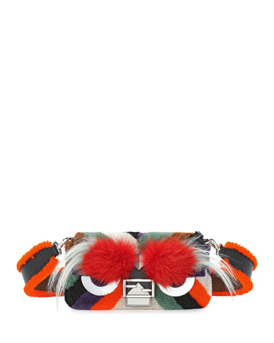Baguette Monster Mixed-Fur Shoulder Bag  Orange Multi