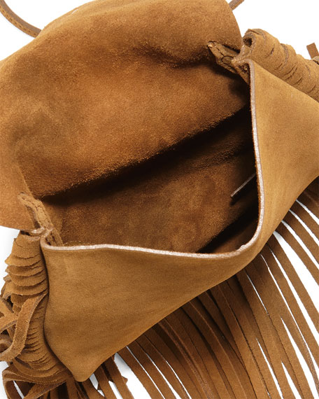 55d6cf712a Saint Laurent Anita Suede Flat Fringe Crossbody Bag