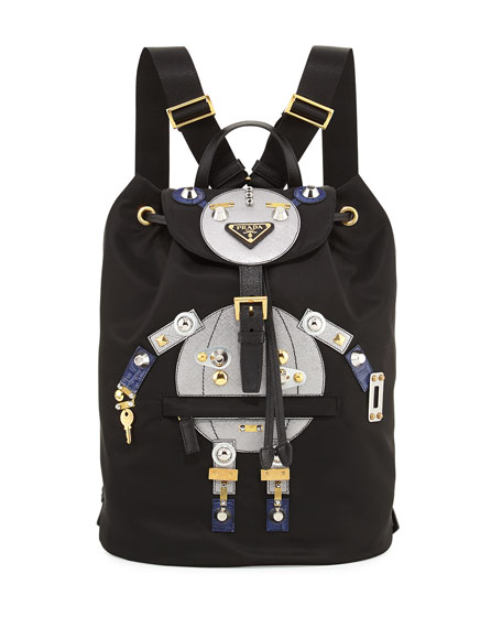 Prada Nylon Robot Backpack, Black/Multi