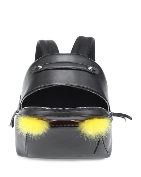 Large Monster Fox-Fur Backpack, Black