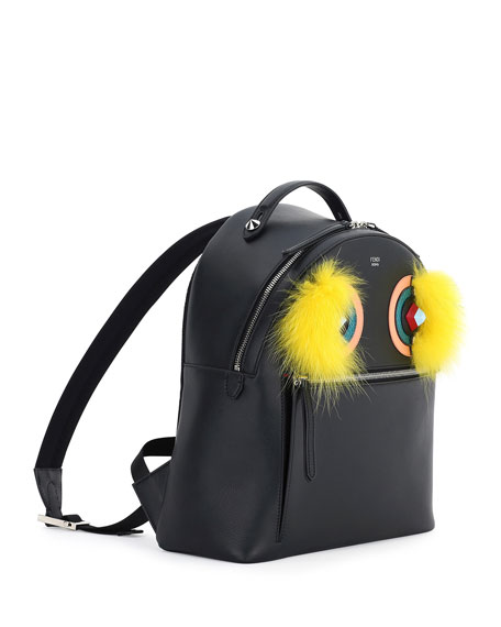 Large Monster Fox-Fur Backpack, Black