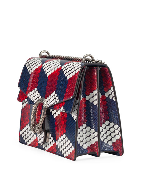 Dionysus Medium Cubic-Python Shoulder Bag, Red/White/Blue