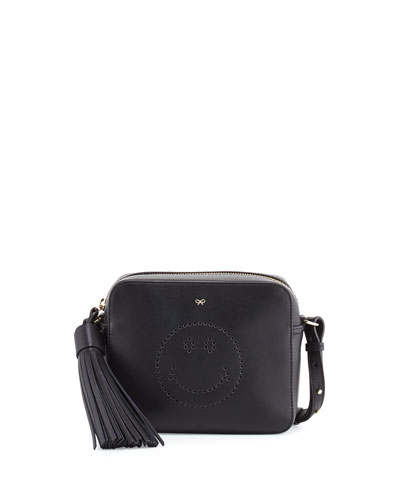 Leather Crossbody Smiley Bag, Black Circus