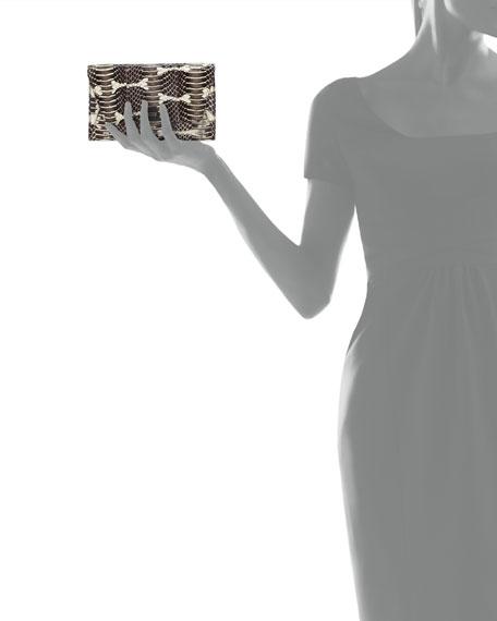 Anouk Mini Python Chain Envelope Clutch Bag, Ivory/Black