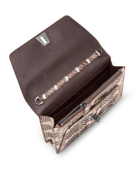Anouk Mini Watersnake Chain Envelope Clutch Bag, Ivory/Black
