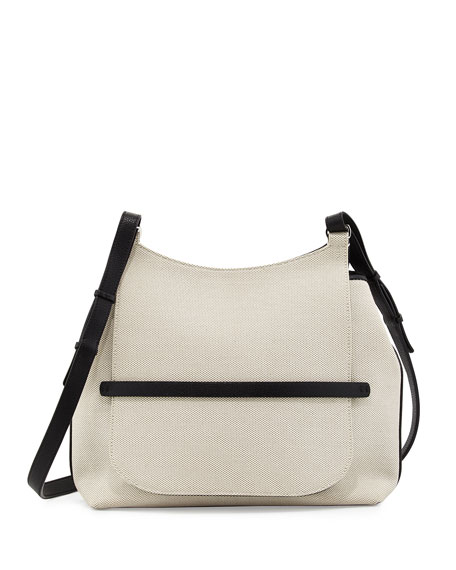 Sideby Canvas Crossbody Bag, Natural/Black