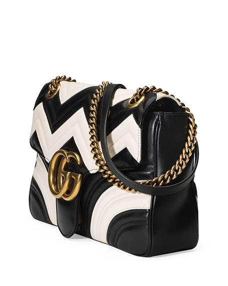 GG Marmont Chevron Shoulder Bag, Black/White