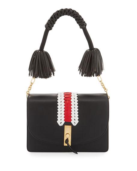 Ghianda Woven Leather Shoulder Bag, Black