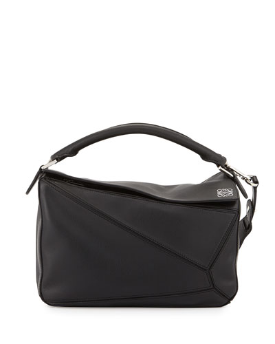 Puzzle Satchel Bag, Black