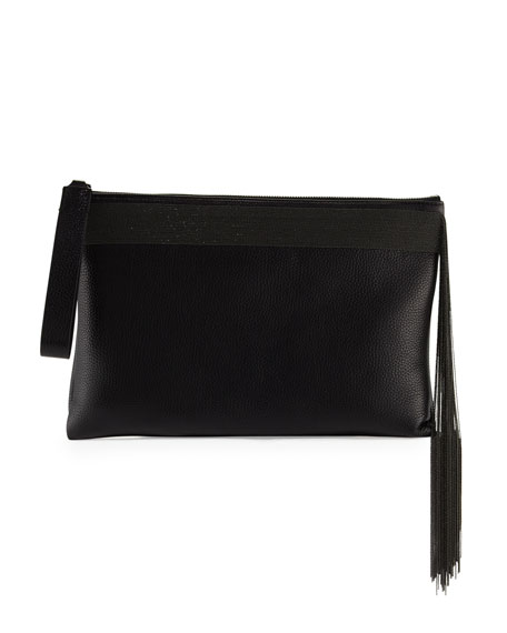 Image 1 of 1: Monili Fringe Wristlet Clutch Bag, Black