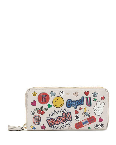 All Over Wink Sticker Large Zip-Around Wallet, Multi
