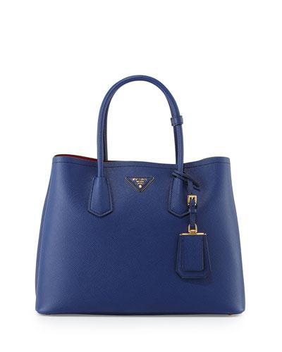Saffiano Cuir Double Medium Tote Bag, Navy/Red (Bluette/Fuoco)