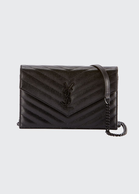 Monogram YSL Matelassé Leather Wallet-on-Chain