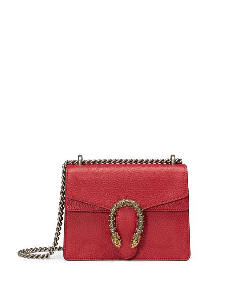 Dionysus Leather Shoulder Bag, Red