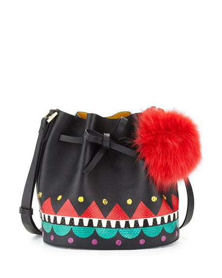 Les Petits Joueurs Daliah Fur Pom-Pom Bucket Bag,