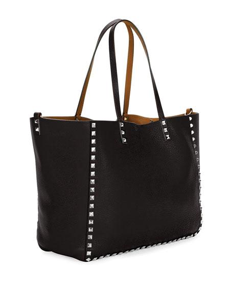 Medium Double Rockstud Reversible Tote Bag, Black/Bright Cuir