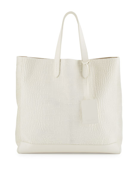 Ralph Lauren Easy Embossed Calf-Hair Tote Bag, Cream