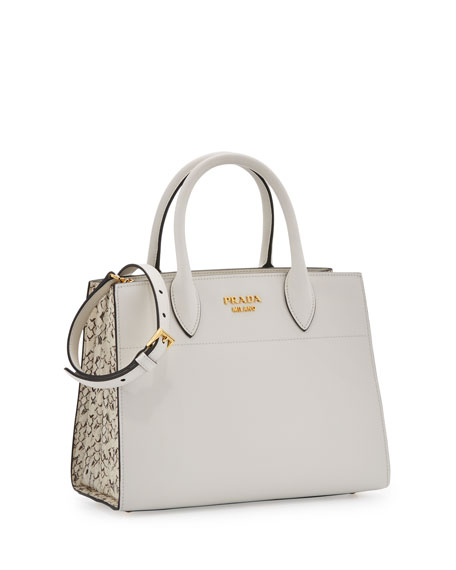 City Calf + Ayers Bibliothèque Watersnake Small Tote Bag, White (Bianco)